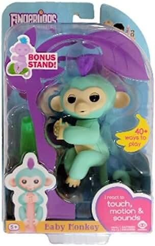 WowWee Fingerlings Zoe Turquoise Baby Monkey with Bonus Stand