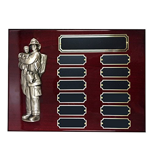 Customizable 9 x 12 Inches Perpetual Piano Finish Cherry Plaque with Brass Fireman and Child, includes Personalization