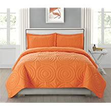 HollyHOME Bedding Quilt Set Bed in Bag Luxury Super Soft Solid Bedspread with 2 Pillowcases, Orange, King