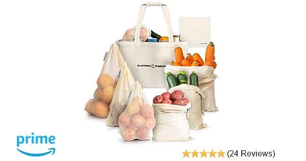 Amazon com: ArmStrong Reusable Produce Bags - Plastic-Free