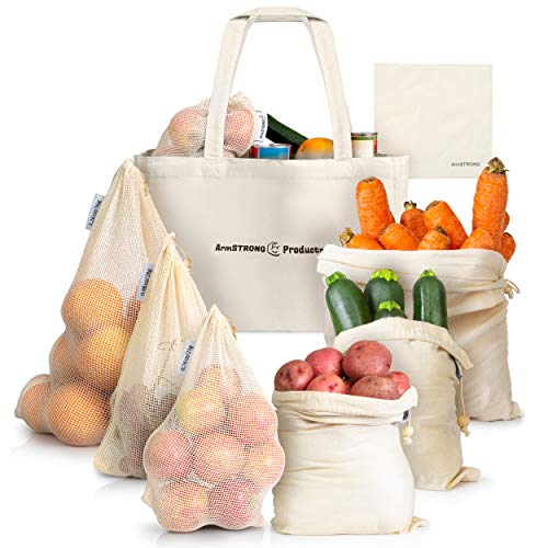 ArmStrong Reusable Produce Bags - Plastic-Free Grocery Bag Bulk Set - Eco-Friendly - Vegetable and Fruit Shopping Storage - Large Mesh Net and Organic Muslin - Food Carrying Sack (Eco Friendly Reusable Bags)