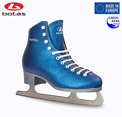 Botas – Model Anita Made in Europe Czech Republic Figure Ice Skates for Women, Girls Nicole Blades Blue Color