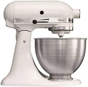 Kitchenaid 5K45SSEWH Serie Classic - Batidora amasadora multifunción, color blanco: Amazon.es: Hogar