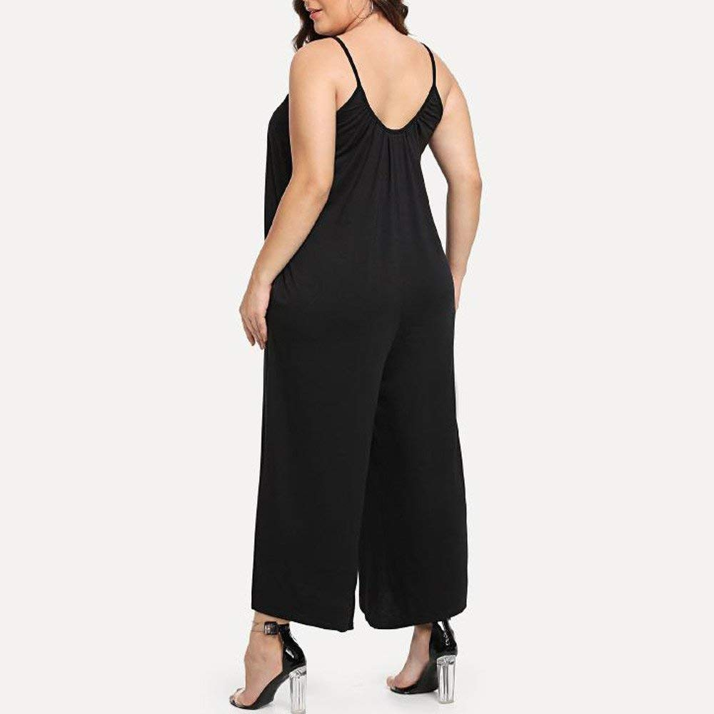 GWshop Fashion Jumpsuit Women Jumpsuits and Rompers Plus Size O-Neck Ssleeveless Jumpsuit Playsuit with Pocket Black 2XL by GWshop (Image #2)