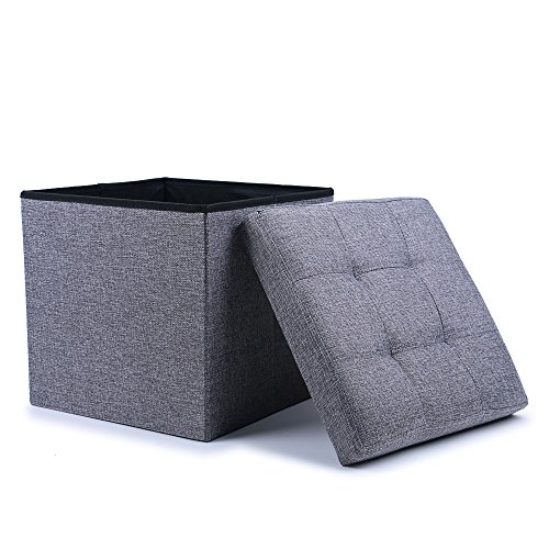 WoneNice Folding Storage Ottoman Cube Foot Rest Stool Seat (Linen Gray) (Stools Cube)