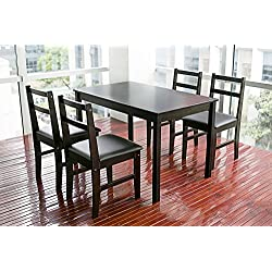 Merax 5pc Dinning Set Table with 4 Chairs, Soild Wood Dark Espresso Finish