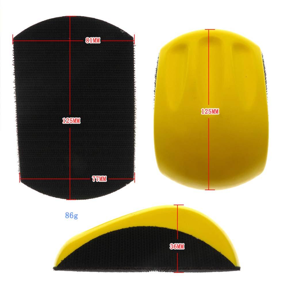 DOITOOL Lijadora manual de bloque de lijado placa de respaldo de gancho y almohadilla de bloque de lijado manual de gancho para lijadoras 5 pulgadas