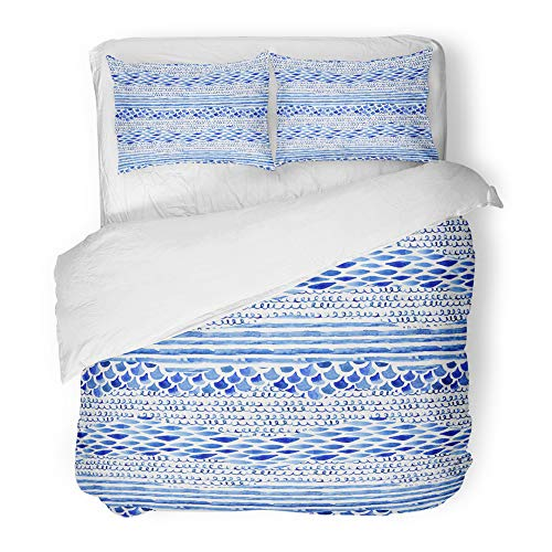 Stripe Squiggle - Emvency Decor Duvet Cover Set King Size Watercolor with Wave Stripe Squiggle Fish Scale Ornaments Abstract in Marine 3 Piece Brushed Microfiber Fabric Print Bedding Set Cover