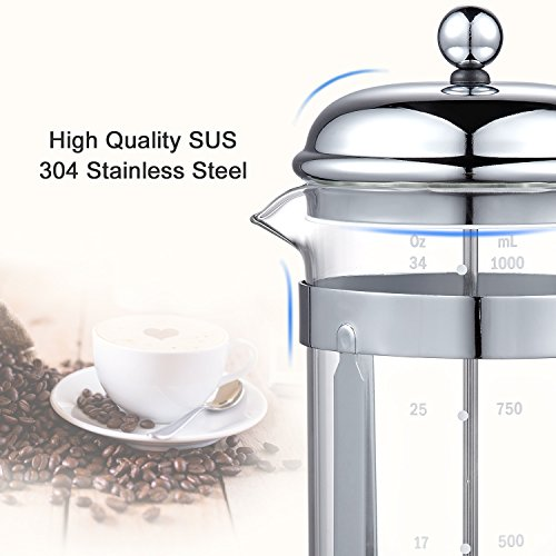 Bonsenkitchen French Press Coffee & Tea Maker, 8 Cup/32 oz, 304 Stainless-Steel Lid, Presser and Frame, Heat Resistant Borosilicate Glass Pot, (CP8871) by Bonsenkitchen (Image #3)