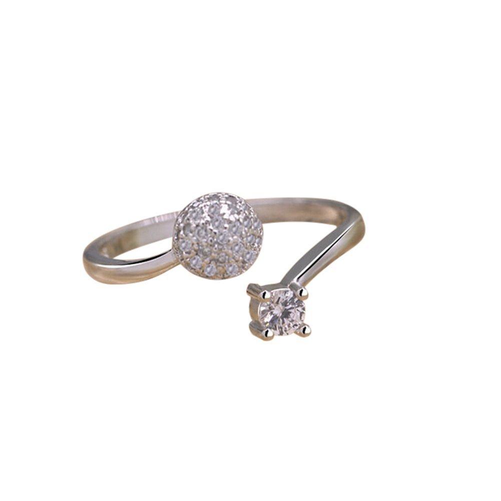 Westeng argento donne anello regolabile anello aperto con brillantini artificiali di gioielli accessori