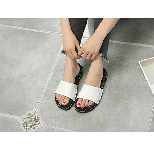 Cool Talon L'extérieur Blanc Eu36 Blanc Pantoufle Femmes Taille uk3 Marée Sandales 5 cn35 Mode Pantoufles couleur D'été Sortie Plat À Xy® qgzwFXx