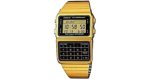 e28ffababb18 Casio   dbc611g-1d hombre oro tono 25 memoria calculadora Databank reloj   Casio  Amazon.com.mx  Relojes