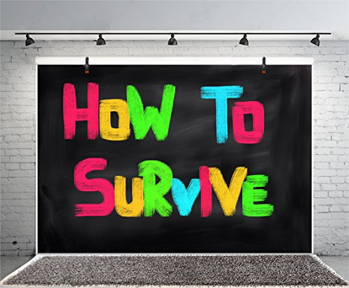Leyiyi 6x4ft Photography Background How to Survive Backdrop Speach Performance Stage Blackboard Classroom Drill Class Chalk Characters Birthday Halloween Photo Portrait Vinyl Studio Video Prop]()