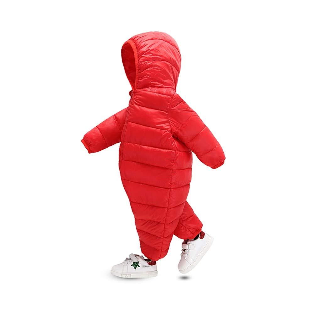 Baby Overall Winter Junge M/ädchen Zhen 0-24 Monate Unisex Neugeborenes Baby Strampler Schneeanzug mit Kapuze und Zip Verdicken Warme Einfarbige Langarm Baumwolle Jumpsuit