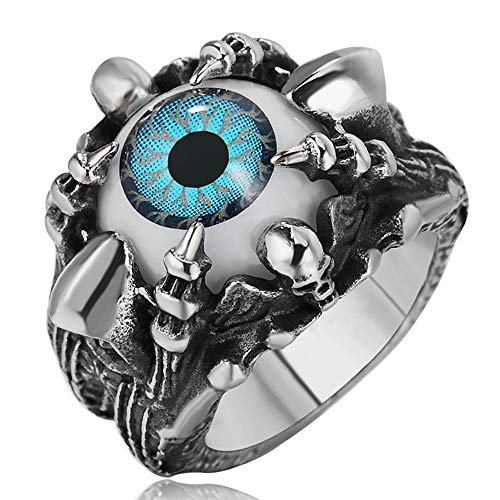 AJZYX Men's Dragon Claw Evil Devil Skull Blue Eyeball Ring Titanium Steel Bands Gothic Biker Size 11