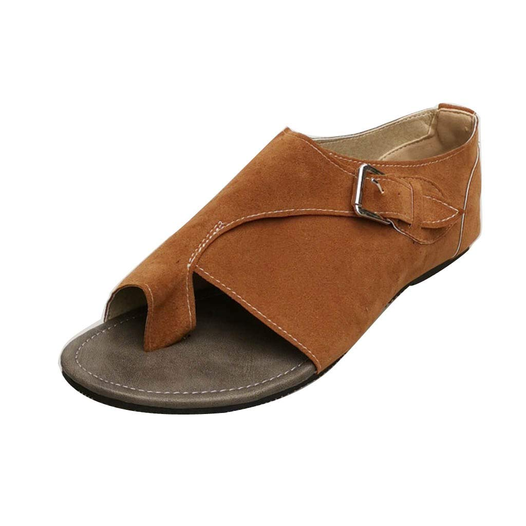 Womens Flip Flops Sandals Shoes Size 5-9, Casual Breathable Peep Toe Soft Bottom Flat Sandal Ankle Buckle Strap Roman Sandals (Brown, US:6.5)