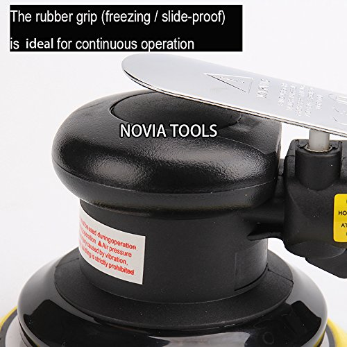 "5""Professional Air Random Orbital Palm Sander,Dual Action Pneumatic Sander,Polisher Sanding,Light Weight,Low Vibration, Heavy Duty by NOVIA TOOLS (Image #2)"