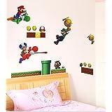Super Mario Luigi Yoshi Theme Decal for Kid's Bedroom Wall Decor Removable Boy's Room Wall Art Mario Bros Sticker