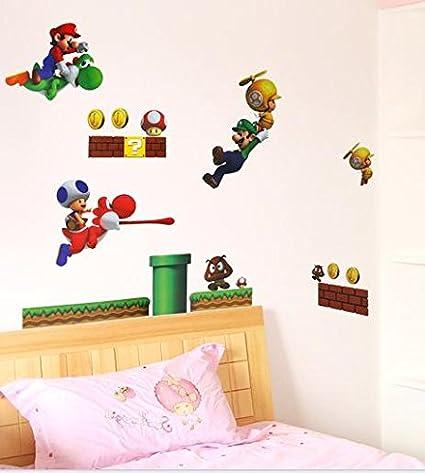 Super mario luigi yoshi theme decal for kids bedroom wall decor removable boys room wall art