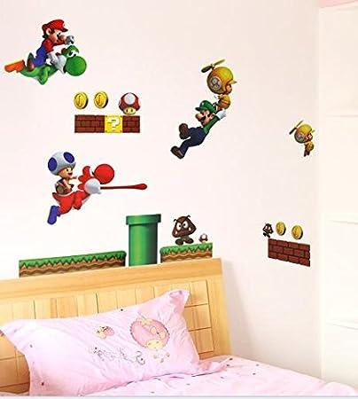 Super Mario Luigi Yoshi Theme Decal for Kid s Bedroom Wall Decor Removable  Boy s Room Wall Art. Amazon com  Super Mario Luigi Yoshi Theme Decal for Kid s Bedroom
