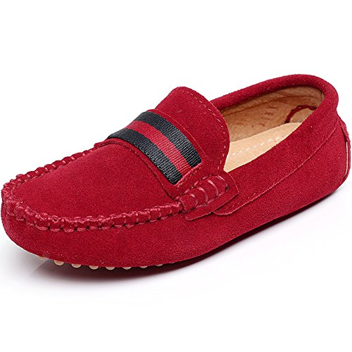 Shenn Boys Girls Fashion Strap Slip-On Red Suede - Penny Loafers For Girls