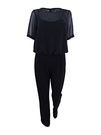 b7791614358 Amazon.com  Calvin Klein Womens Chiffon Short Sleeves Jumpsuit Black 14   Clothing