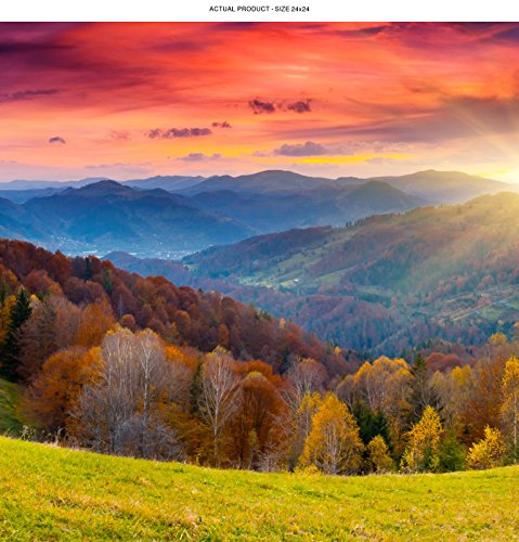 WindowPix 24x24 Inch Decorative Static Cling Window Film Magical Tuscan Sunrise . Printed on Clear for Window Glass panels. UV protection, Energy Saving.
