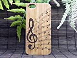 Treble Clef iPhone 6 Case. Music Notes. Musician Band Orchestra Songwriter Jazz Choir. Eco-Friendly Bamboo Wood Cover Skin