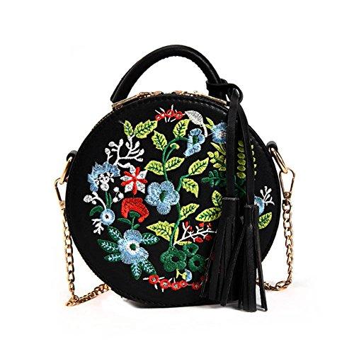 bolso de las de redondo bordado la de mujeres cadena del del PU Bolso hombro Majome flor la borla de la cuero de de la Negro del 0qYFp