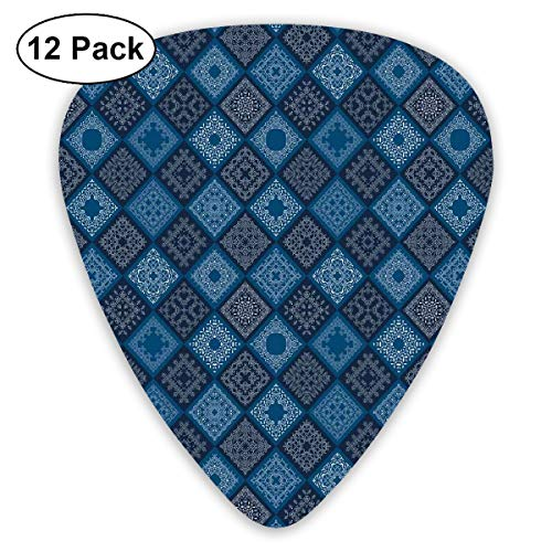 Guitar Picks - Abstract Art Colorful Designs,Floral Tribal Ethnic Detailed Squares Patchwork Inspired Image,Unique Guitar Gift,For Bass Electric & Acoustic Guitars-12 Pack
