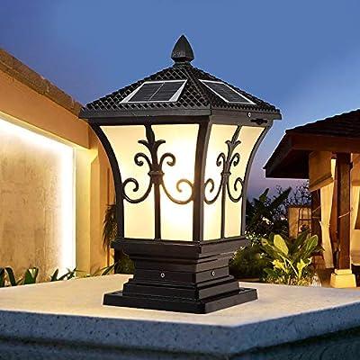 KMYX Luz solar de jardín Columna exterior Luces de cabeza Luces de poste Luces de pared Jardín Villa Plaza europea Luces de puerta de casa (Color : Black, tamaño : H-45CM): Amazon.es: