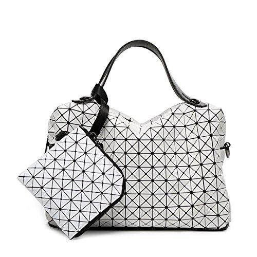 Main White Sac Diagonale Couture à Rhombe Japonais épaule Paquet Décontracté Lady Style Cube Silicone Pliage à Carré D'oreiller Sac Sacs Main wxRffTZqga