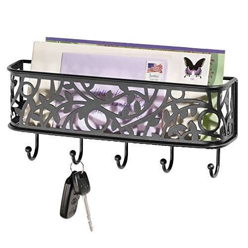 mDesign Wall Mount Metal Entryway Storage Organizer Mail Sorter Basket with 5 Hooks - Letter, Magazine, Coat, Leash and Key Holder for Entryway, Mudroom, Hallway, Kitchen, Office - Matte Black