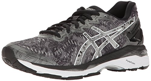 ASICS Women's Gel-Kayano 23 Lite-Show Running Shoe, Carbon/Silver/Reflective, 8 M US -