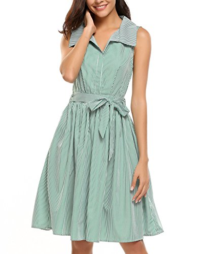 Sleeveless Belted Shirt Dress - 5