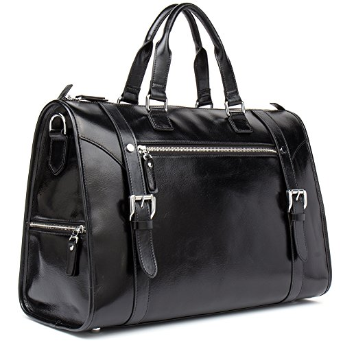 MANTOBRUCE Leather Briefcase Weekender Overnight Duffel Bag Gym Sports Luggage Bags for Men Women by MANTOBRUCE