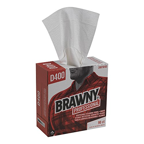 GP Brawny Professional D400 Disposable Cleaning Towel, Tall Box, White