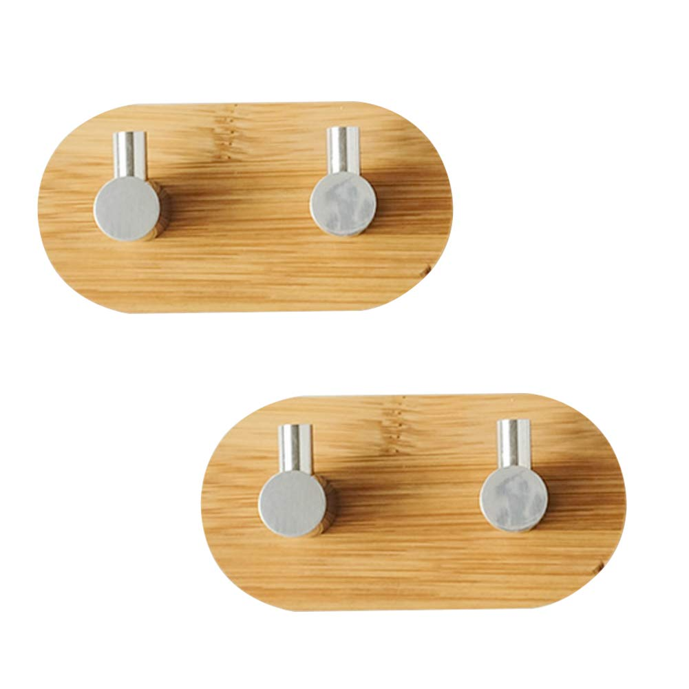 LvLoFit Rotatable Hook Self Adhesive Heavy Duty Wood Wall Hanger Hanging for Coat Key Handbag Towel Set of 2 Double Hook Set of 2