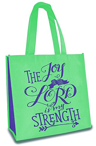 The Joy of the Lord Is My Strength 12 x 12 Inch Reusable Eco-Friendly Tote Bag Pack of 6 by Divinity Boutique