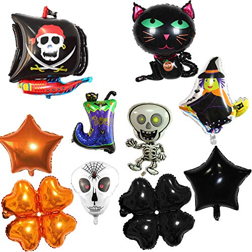 YINASI Halloween Aluminum Film Balloon Halloween Decorations Skull Head Star Boot Dancing Little Skeleton Inflatable Toys Halloween Party Supplies by Foil Balloons (10 Pcs/Set) (B)]()