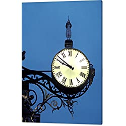 Clock Off The Side Oa A Church At Night by National Geographic, Canvas Print Wall Art, 36 x 48, Mirrored Gallery Wrap, Glossy Finish