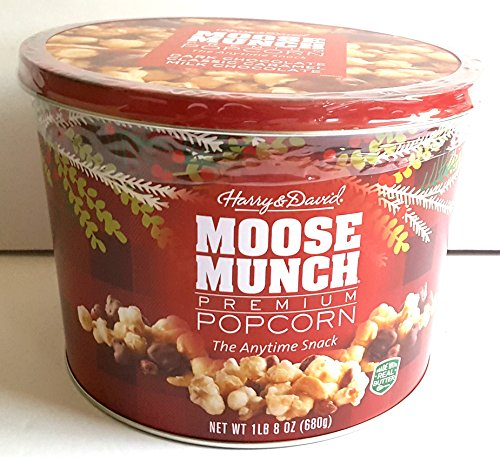 Moose Munch Premium Popcorn Holiday Gift Tin Dark Chocolate Classic Caramel Milk Chocolate ( 1 lb. 8 oz (680g) ) - Holiday Gift Tin