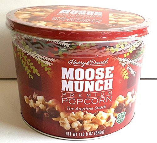 Moose Munch Premium Popcorn Holiday Gift Tin Dark Chocolate Classic Caramel Milk Chocolate ( 1 lb. 8 oz (680g) )
