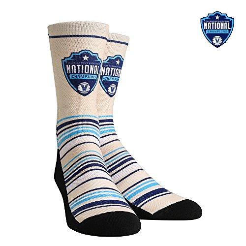(Rock Em Elite Villanova Wildcats National Champions 2018 Crew Socks (Champs Vintage Cream, L/XL (SZ 9-13)))