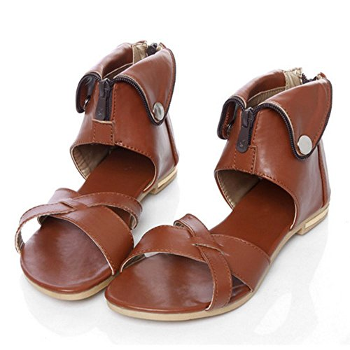 LongFengMa Women Classic Gladiator Flats Sandals Bootie Shoes Brown 9exDCfw