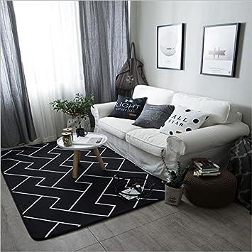 Simple Noir et Blanc personnalité Tapis Salon Chambre Moquette Thé ...