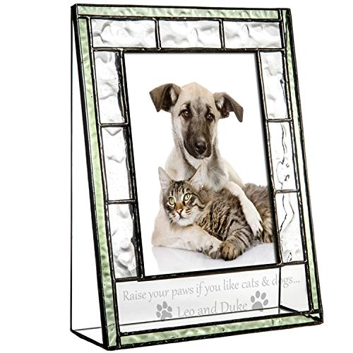 J Devlin Pic 389-46V EP600 Personalized Pet Frame Green Stained Glass Engraved Photo Frame for Dog and Cat Lovers