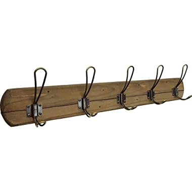 "Rustic Coat Rack Wall Mounted - Premium Quality, Handmade in USA by Acacia Grove - 5 Distressed Hooks, 28"" Length - Weathered Barnwood Decor for a Farmhouse Entryway, Kitchen, Office, Bathroom"