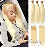 Dorabeauty Blonde Hair 4×4 Lace Closure with 3 Bundles Platinum Blonde #613 100% Brazilian Human Hair (ST 20''Closure +24''26''28''Bundles, Straight Blonde)