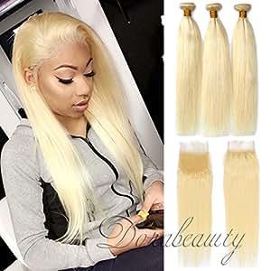 Amazon Com Dorabeauty Blonde Hair 4 4 Lace Closure With 3 Bundles